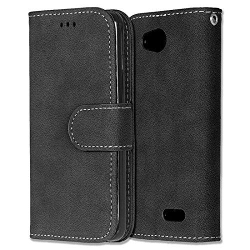 LG L90 Hülle, Chreey Matt Leder Tasche Retro Handyhülle Magnet Flip Case mit Kartenfach Geldbörse Schutzhülle Etui [Schwarz]