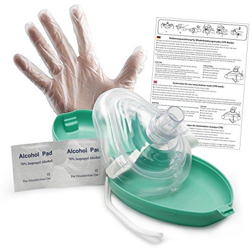 Lunata (Upgrade 2019) CPR Mascarilla de primeros auxilios CON conexión de Oxígeno, Máscara para Respiración artificial de Emergencia, Máscara de Emergencia, Máscara de Reanimación