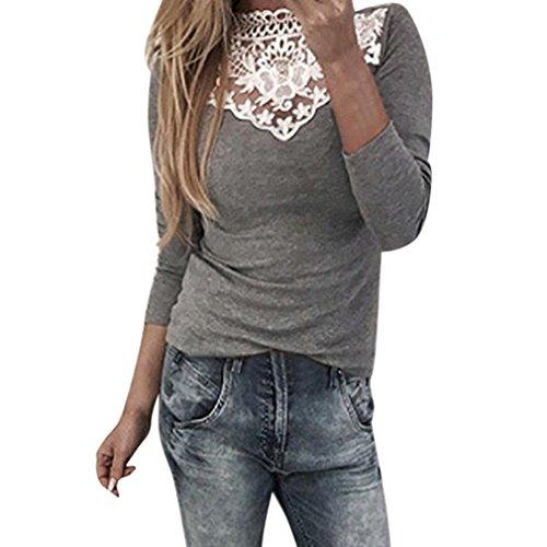 Bekleidung Kolylong® Damen Elegant V-Ausschnitt Spitze Blusen Vintage Schulterfrei Sweatshirt Festliche Oberteile Langarm Shirt Spitzenbluse Slim Fit Basic Shirt Pullover Pulli Top (Gray-b, S) (Camisole Pullover)