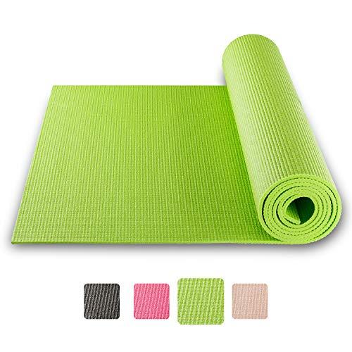 BODYMATE Yogamatte Universal Apfel-Grün - Größe 183x61cm - Dicke 5mm - Schadstoffgeprüft frei von Phthalaten, BPA, Schwermetallen - Trainings-Matte für Fitness, Yoga, Pilates, Functional