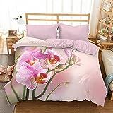 Bettwäsche mit Microsatin 3D 200x220 Rosa Orchideen Bed & You
