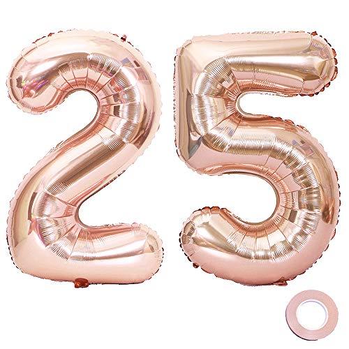 l 25 Rosegold Geburtstag Folienballon Helium Folie Pinke Luftballons für Geburtstag Jubiläum 40 Zoll - Riesenzahlen #25 ()