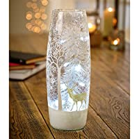 LED Lit Christmas Large Vase Decoration with Deer Snowscene (31cm)