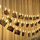 #4: Miracle Led Photo Clip Remote String Lights, 20 LEDs Battery Operated Fairy String Lights 10 Feet White with Wooden clip