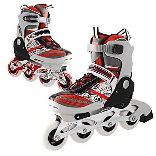 Profun Inline Skates Kinder Damen/Mädchen - Verstellbar Rollerskate Rollschuhe Rosa Größe 31-42 mit LED Rad und Bremse (Rot, XS:28-31 EU)