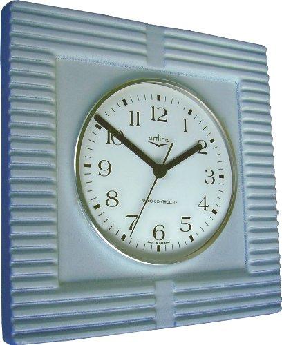 Küchenuhr Funkuhr kobalt Zweischichglasur viereckig groß mit Farbfehler Sonderangebot