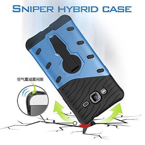 YHUISEN Galaxy J3 2016 Case, Hybrid Tough Rugged Dual Layer Rüstung Schild Schützende Shockproof mit 360 Grad Einstellung Kickstand Case Cover für Samsung Galaxy J3 / J3 2016 J310 ( Color : Black ) Biue