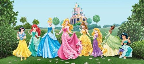 Preisvergleich Produktbild AG Design FTDh 0625 Prinzessinen Disney Princess Schloss, Papier Fototapete Kinderzimmer - 202x90 cm - 1 Teil, Papier, multicolor, 0,1 x 202 x 90 cm