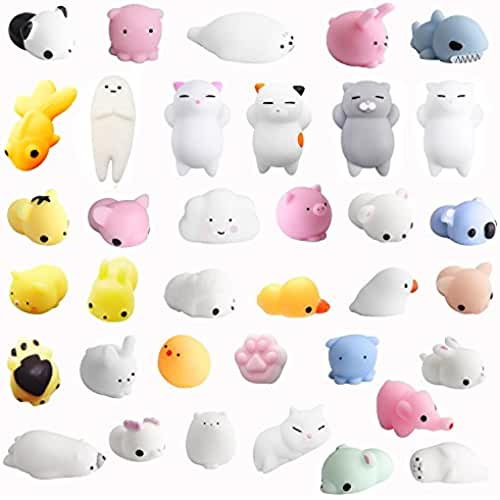 mini kawaii miniaturas kawaii Amaza 36Pcs Squishys Kawaii Juguetes Pegajosos Oso Panda Gato de Silicona Animales Squishies (Multicolor)