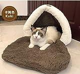 TYIOWALI Cat Letto Nido Corduroy Coperta Lavabile Pet House Cane Teddy Mini Cane Cucciolo Canile Inverno Calore,Kaki L-60 * 45 * 46Cm