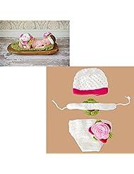 Hrph Recién nacido Cap marca nuevo conjunto de fotografía del bebé Atrezzo equipo del traje del ganchillo del bebé con el sombrero + + cortocircuitos con banda de sujeción