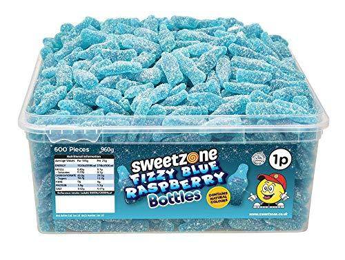 SweetZone 100% Halal Fizzy Blue Raspberry Bottles Candy ohne Schweinegelatine 1kg