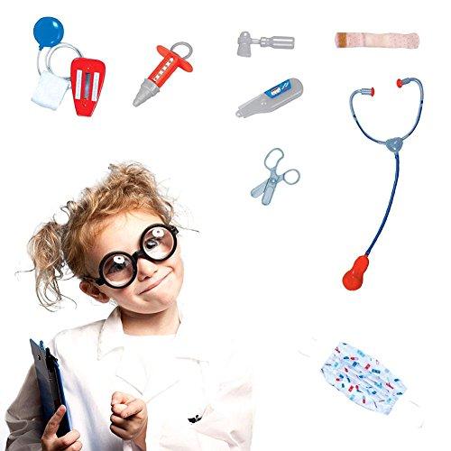 Costume Halloween de Toussaint - Lot 9 Acessoires pour 4-7 ans Enfants Costume de jeu Rôle Docteur en Médecine Blouse de laboratoire Masque facial Stéthoscope et 6 outils Médicaux Supplémentaires