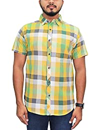 Kuons Avenue Yellow & Green Checks Half Sleeve Casual Party Shirt