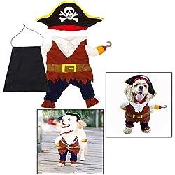 OFKPO Disfraz de Pirata para Mascota, Traje de Navidad de Halloween con Sombrero para Perros Pequeños y Medianos Gatos