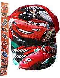 Disney Cars Cap mit Cars Aufklebern - Lightning Mc Queen vs Francesco Bernoulli vs Max Schnell - Los Los Los - Rot/Mehrfarbig - Bundle by MLS Kids