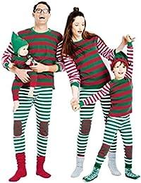 LvRao Famiglia Pigiama a righe Costume di Natale Pajamas Set Xmas Sleepwear a Strisce