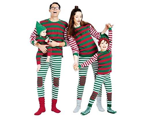 Lvrao famiglia pigiama a righe costume di natale pajamas set xmas sleepwear a strisce (a strisce #adulti, cn 3xl)