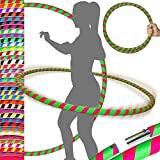 PRO Hula Hoops Reifen für Anfänger und Profis (Ultra-Grip) Faltbarer TRAVEL Hula Hoop ideal für...