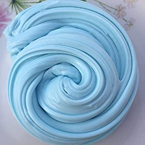 (50g, BABY BLUE) FLUFFY SLIME FAT STRETCHY BUTTER FLOAM NON TOXIC SAFE AND WASHABLE PUTTY STRESS RELIEF SENSORY TOY ADHT ASMR NO BORAX DELICIOUS BUBBLEGUM FRAGRANCE!