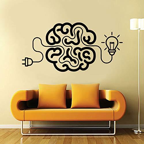 Gehirn Art Decal Idee motivierende Büro Vinyl Aufkleber mit Birne Dekoration Wohnzimmer Deco wasserdicht 57 * 28CM ()