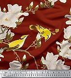 Soimoi Rot schwere Satin Stoff Blumen & Blätter Vogel