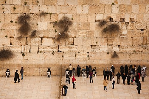 Panoramic Images – Elevated View of The Western Wall Plaza with People Praying at The Wailing Wall Jewish Quarter Old City Jerusalem Israel Kunstdruck (45,72 x 60,96 cm)