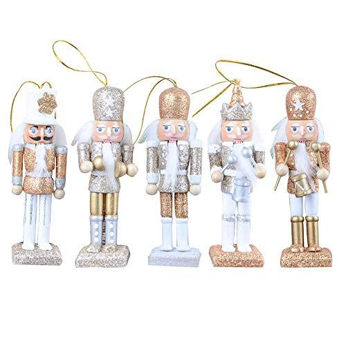 keruite 5pcs 12cm Schiaccianoci Ornamenti burattini, Artigianato in Legno Fatti a Mano Regalo di Natale per la Decorazione della Cam