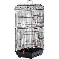 Yaheetech Volière cage à oiseaux 4 mangeoire 3 perchoirs 46 x 36 x 92 cm noir