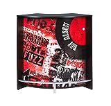 Simmob SNACK106NO451 Rock 451 Meuble Bar/Comptoir de Cuisine/Meuble d'Accueil Bois Noir 53,3 x 106,9 x 104,8 cm