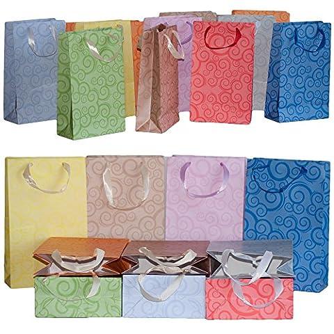 Dazoriginal Gros 10 Sacs cadeaux papier de couleur 27 x 16 x 10cm Sacs en papier qualité premium avec poignées Sacs de fete en papier Sacs en papier craft Sachets