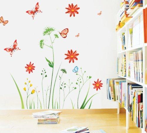 Ruiting Wandtattoo Bunte Blume Pflanzen Schmetterling Wandmotiv Bordüren Schlafzimmer Sofa im Wohnzimmer TV Wandaufkleber Haushaltsgegenstände