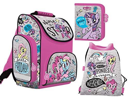 enset My Little Pony Ranzen Schulranzen mit Federtasche, Turnbeutel Pony Ponies ()