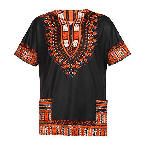 T-Shirts Tops für Herren,Männer Sommer Vintage African Print Kurzarm Taschen Crew Hals Tops Shirt Blusen,Slim Fit Basic T-Shirts Bluse Streetwear Sweatshirts SommerblusenTrainingsanzüge - Kundenspezifische Lange Ärmel T-shirts