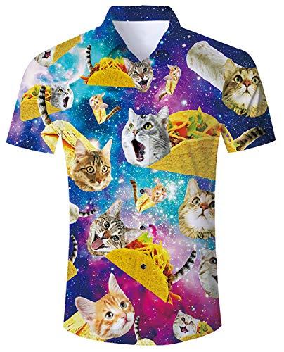 Sommer Strand Hemden Kurzarm Herren 3D Hemden Tier Hawaii Urlaubs Hemden Sommer Shirt Bluse Katze 3D Print Kurzarm Design Tops Hemd T-Shirt XL