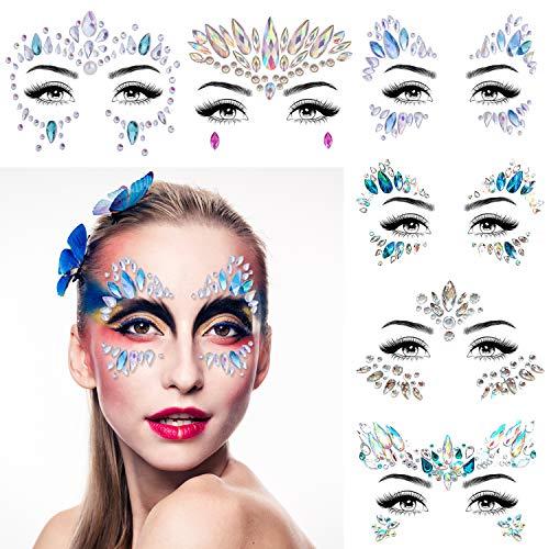 Arzopa Gesicht Edelsteine,6 Stück Temporäre Tattoos Gesichts Aufkleber, Schmucksteine Selbstklebend Gesicht, Glitter Bindi Strass Juwelen Face Sticker für Glitzer Effekt, Parties, Shows, Make-up