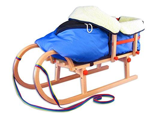 Holzschlitten für Kinder Klappschlitten mit Lehne Lammwollsack 21-095-Lehne-W-blau
