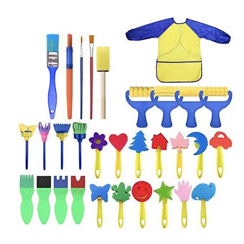 Lernen Schwamm Pinsel Malen Kit, 31 Stücke Schwamm Zeichnung Gemälde Kunst Bürsten, Lange Ärmel Wasserdicht Schürze 3 Geräumig Taschen Set für Kinder ()