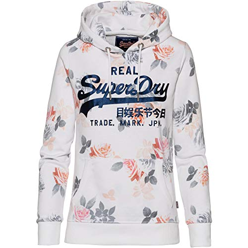 Superdry Damen Sweatshirt Vintage Logo Rose AOP Entry Hood Weiss (100) XL Metallic-print-sweatshirt