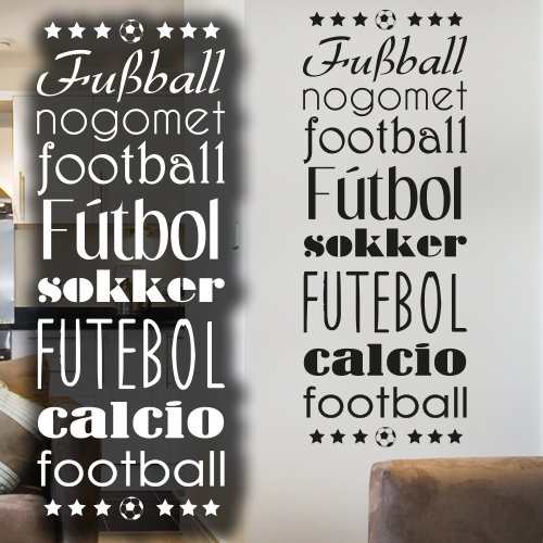 """Wandkings Wandtattoo """"Fußball-Banner in verschiedenen Sprachen"""" 18 x 50 cm gold - erhältlich in 33 Farben"""