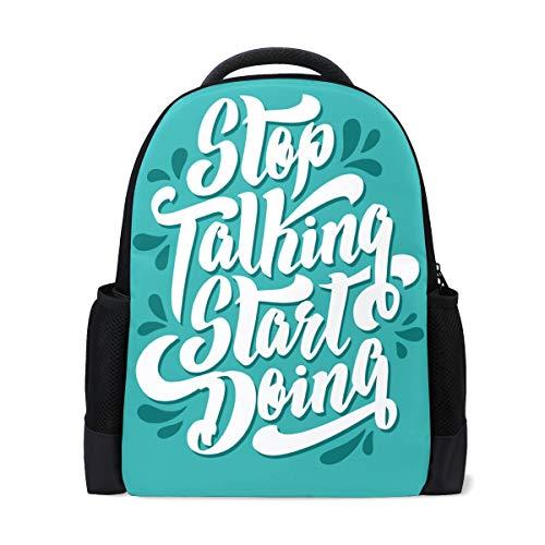 Bonipe inspirierende Zitate stoppen Sprechen, Anfängen, Freizeit-Rucksack, individuelles Büro, Schule, Laptop-Tasche, Reisetasche