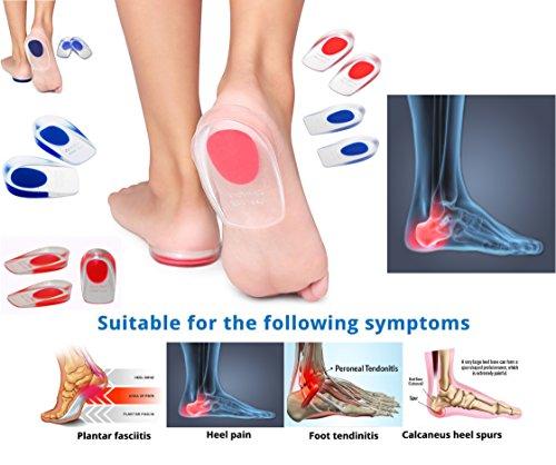 Kissen Innensohle Unterstützung Silikon Gel Heel Pad Fuß Cup für Knöchel Paid Ferse | Sporn Rückenschmerzen, | Sehnenscheidenentzündung & Plantarfasziitis | Massage | dämpfenden | Schmerzlinderung (Heel Massage-gel Cups)