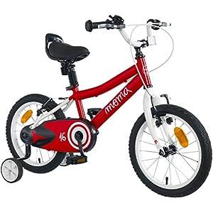 """51tmqm1JQGL. SS300 Moma Bikes Bicicletta Bambini 16"""" Bicicletta 16"""" Piccole Ruote, A Partire dai 4 Anni per Una Taglia da 105 A 120 Cm, Red/White, Unic Size"""