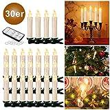 YAOBLUESEA 30stk Weinachten LED Kerzen Lichterkette Kabellos Weihnachtskerzen Christbaumschmuck Weihnachtsbaumbeleuchtung mit Fernbedienung Kabellos für Weihnachtsbaum Weihnachtsdeko Hochzeit Beige