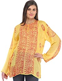 Exotic India Sanatan Dharma Kurti Top With Printed Religious Motifs