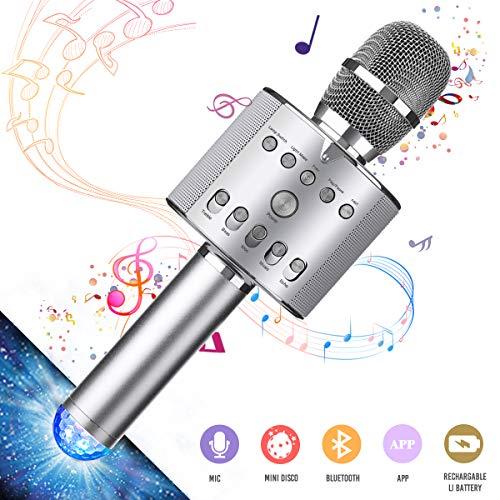 Tragbares drahtloses Karaoke Mikrofon, NASUM, bluetooth Mikrofon mit LED Laternenpfahl, wunderschön Beleuchtung und Lautsprecher, kompatibel mit Android, IOS, PC oder Alle Smartphone Silber