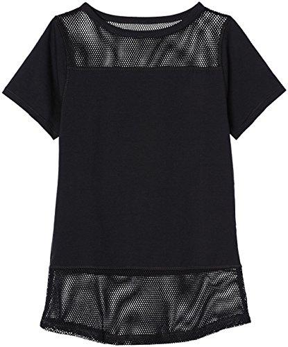 FIND Damen T-Shirt mit Netzeinsätzen, Schwarz (Black), Large