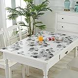 HM&DX PVC Kunststoff klar Tischdecken Wasserdicht Ölfreie Abwaschbar Tabelle cover tuch protektor Schreibunterlage Für küche kaffee esstische-Blume 90x160cm(35x63inch)