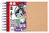Marabu 1612000000200 - Ringbuch Mixed Media, Papier fein gekörnt, säurefrei, lichtbeständig, für Techniken mit hohem Farbanteil, hochwertige Ringbindung, 300 g/qm, 32 Blatt, DIN A5, weiß