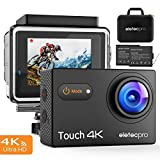 Action Kamera, EletecPro Wifi Sports Camera 4K 170° Weitwinkel Helmkamera 30M Wasserdicht 16MP 2'' LCD Touch Screen 2.4G Fernbedienung 20 weitere Zubehör Kits für Tauchen / Klettern / Schwimmen (Touch Action Kamera)
